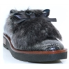 1590 - PANACHE PEWTER SLIP ON SHOE WITH FUR