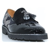 6063 - PANACHE BLACK AND CAMO PRINT LOAFERS