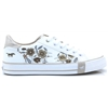 1313-303 - MUSTANG WHITE TRAINERS WITH FLORAL EMBROIDERY