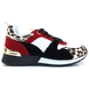 LX887 - PANACHE BLACK RED AND LEOPARD PRINT TRAINERS