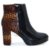 Kaliser - MODA IN PELLE BLACK AND LEOPARD PRINT ANKLE BOOTS