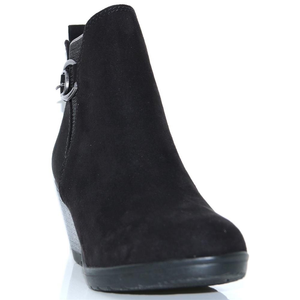 25042-21 - MARCO TOZZI BLACK WEDGE ANKLE BOOTS