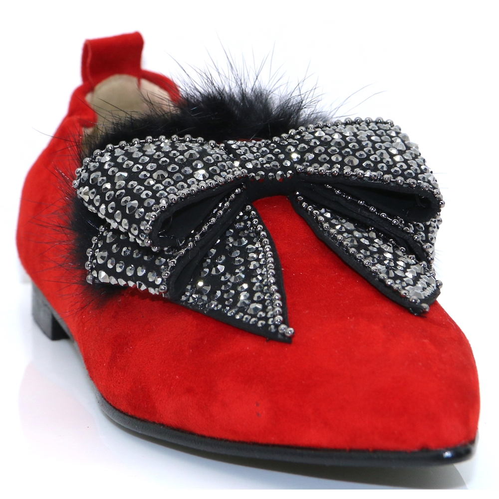 4197 - NICOLA SEXTON RED SLIP ON SHOES WITH BOW