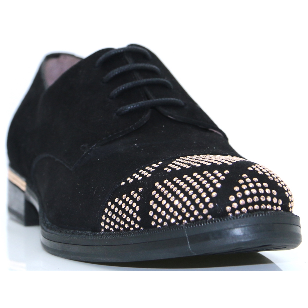 A-7235 - WONDERS BLACK SUEDE AND ROSE GOLD STUD SHOES