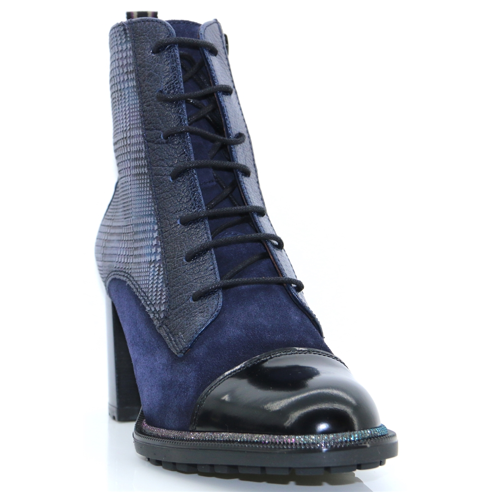 CHI87724 - HISPANITAS NAVY CHECK ANKLE BOOTS