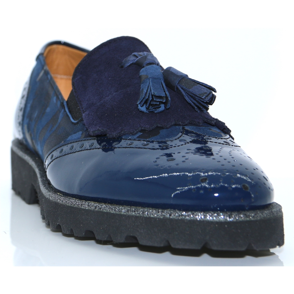 6063 - PANACHE NAVY AND CAMO PRINT LOAFERS