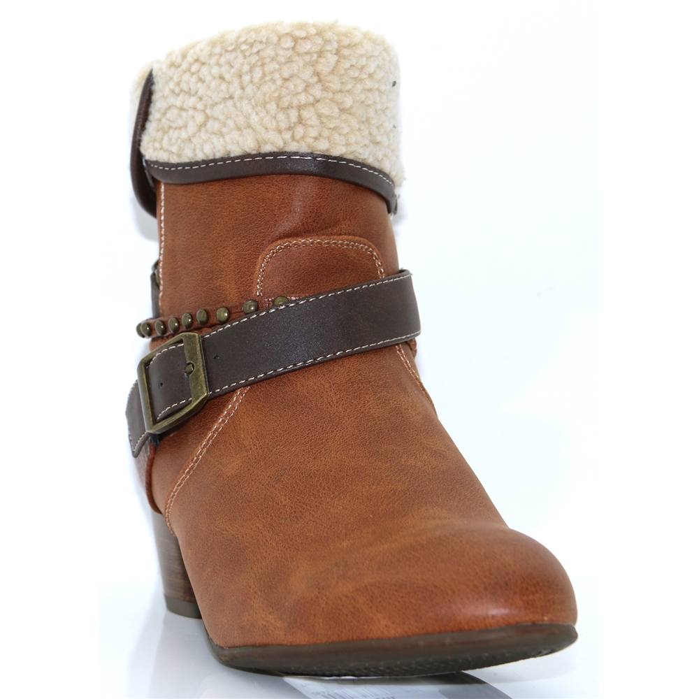 25333-21 - S.OLIVER TAN ANKLE BOOTS WITH FUR TRIM