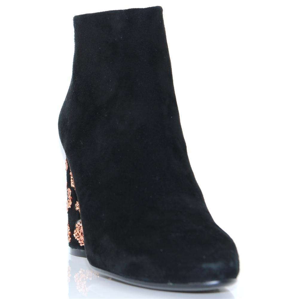 062T30BK - LOLA CRUZ BLACK ANKLE BOOTS WITH LEOPARD HEEL