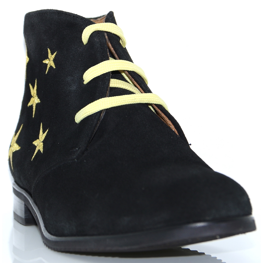 6202 - PANACHE BLACK AND GOLD STARS ANKLE BOOTS