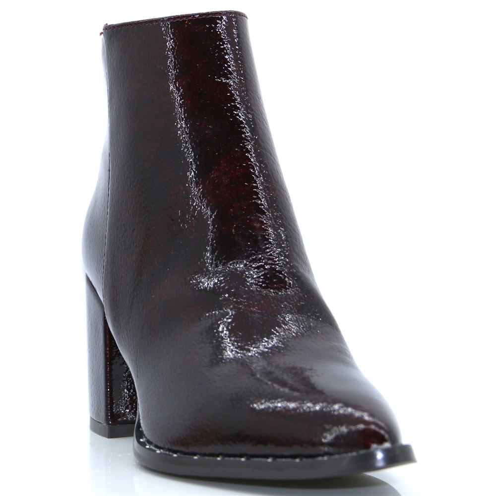 30958 - XTI BURGUNDY PATENT ANKLE BOOTS