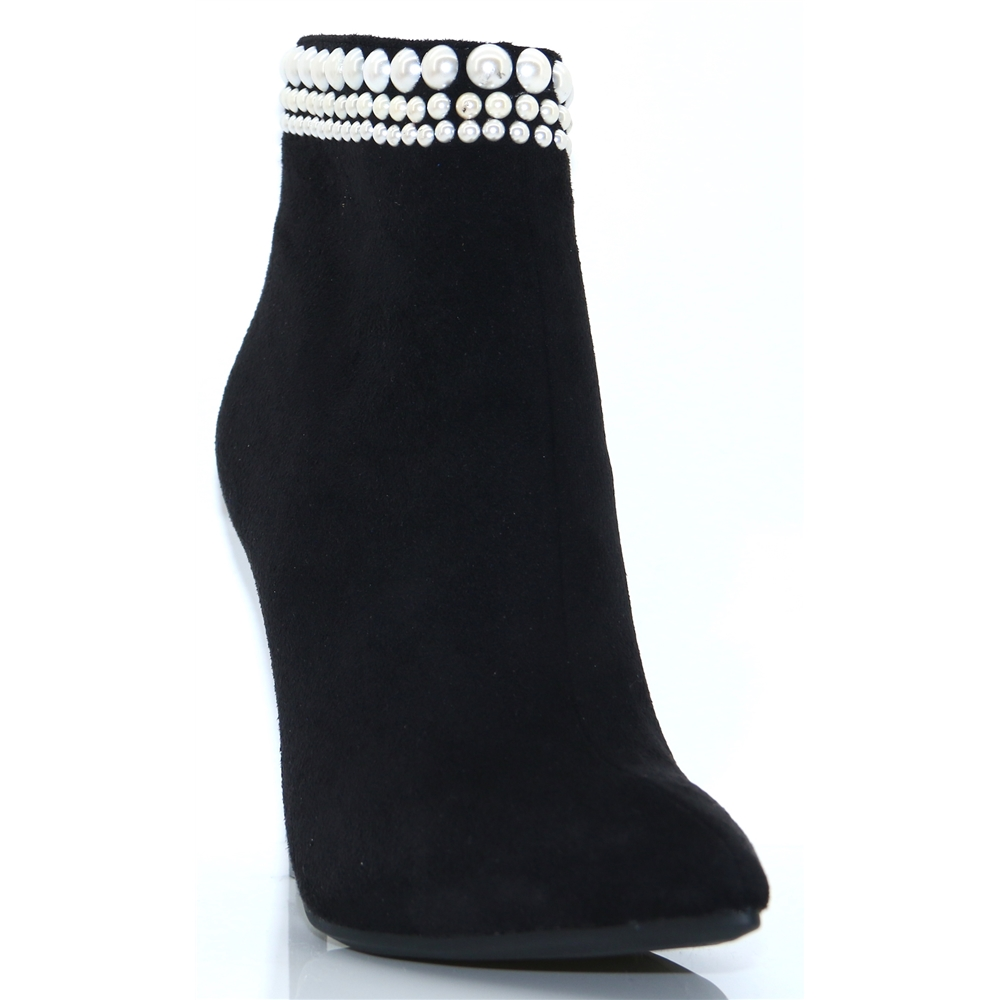 Esme - GLAMOUR BLACK ANKLE BOOTS WITH PEARL DETAIL