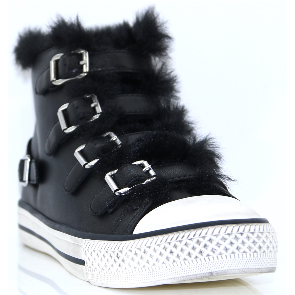 Valko - ASH BLACK HIGH TOP TRAINERS WITH FUR LINING