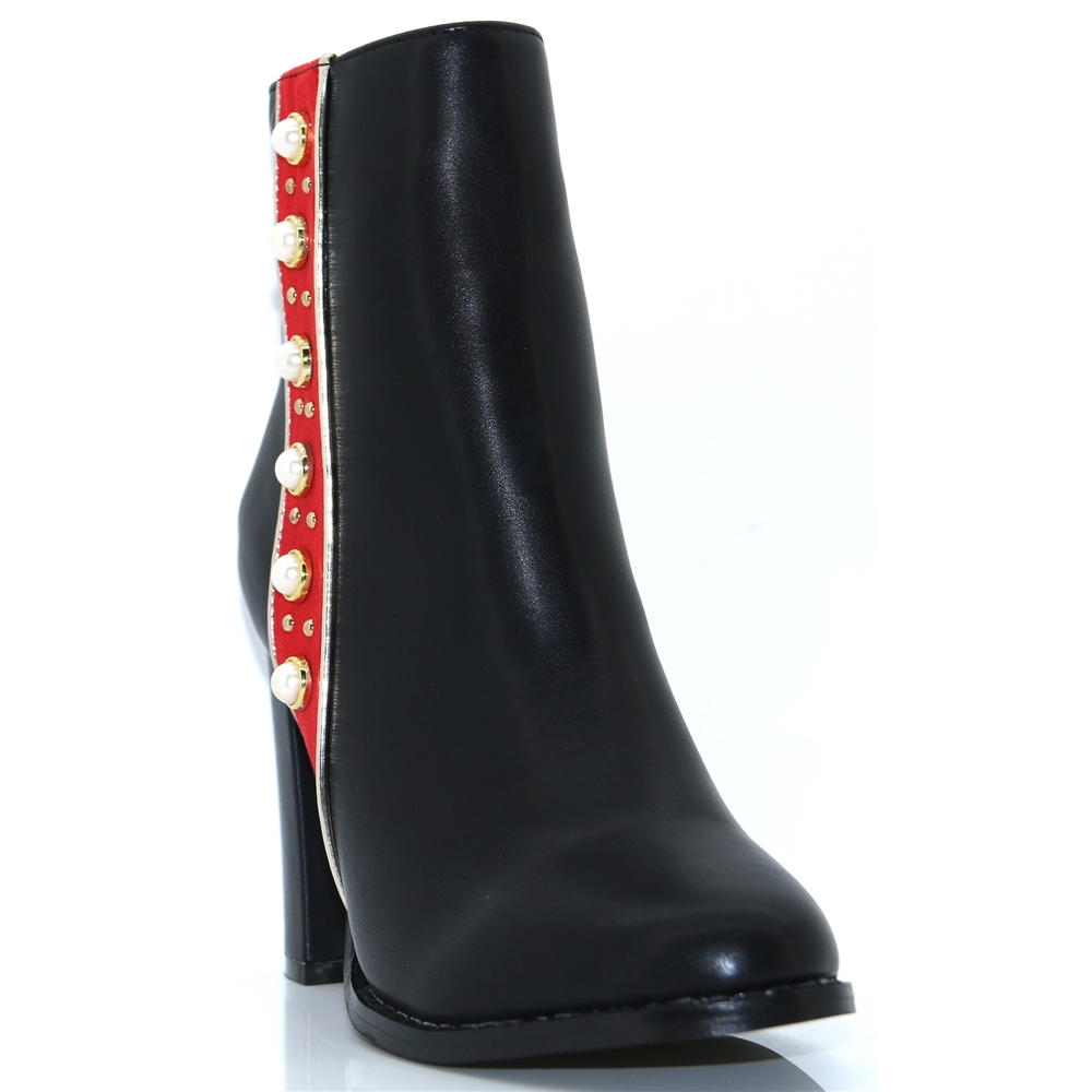 Bobbi - MILLIE & CO BLACK ANKLE BOOTS WITH RED STRIPE