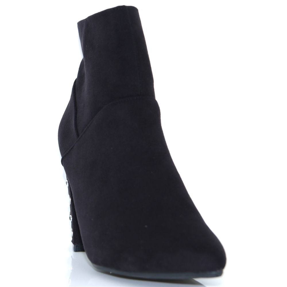 436723 - SPROX BLACK ANKLE BOOTS WITH PEARL HEEL