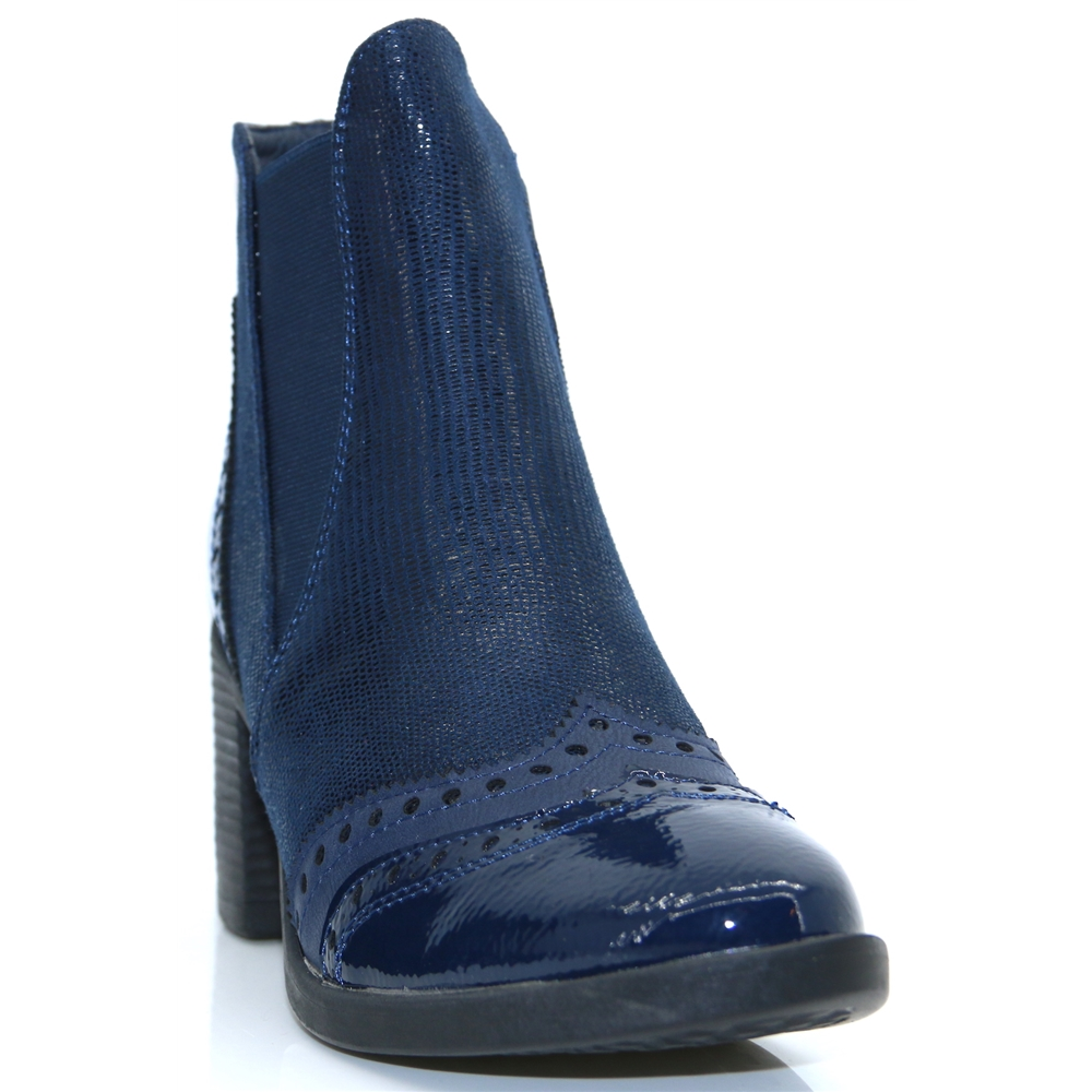 CR013-05 - REDZ NAVY CHELSEA BOOTS WITH HEEL