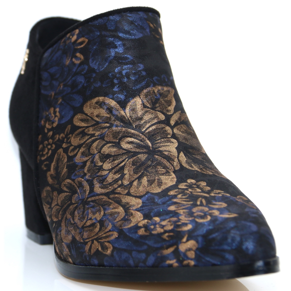 09904 - MENBUR BLACK AND GOLD FLORAL ANKLE BOOTS