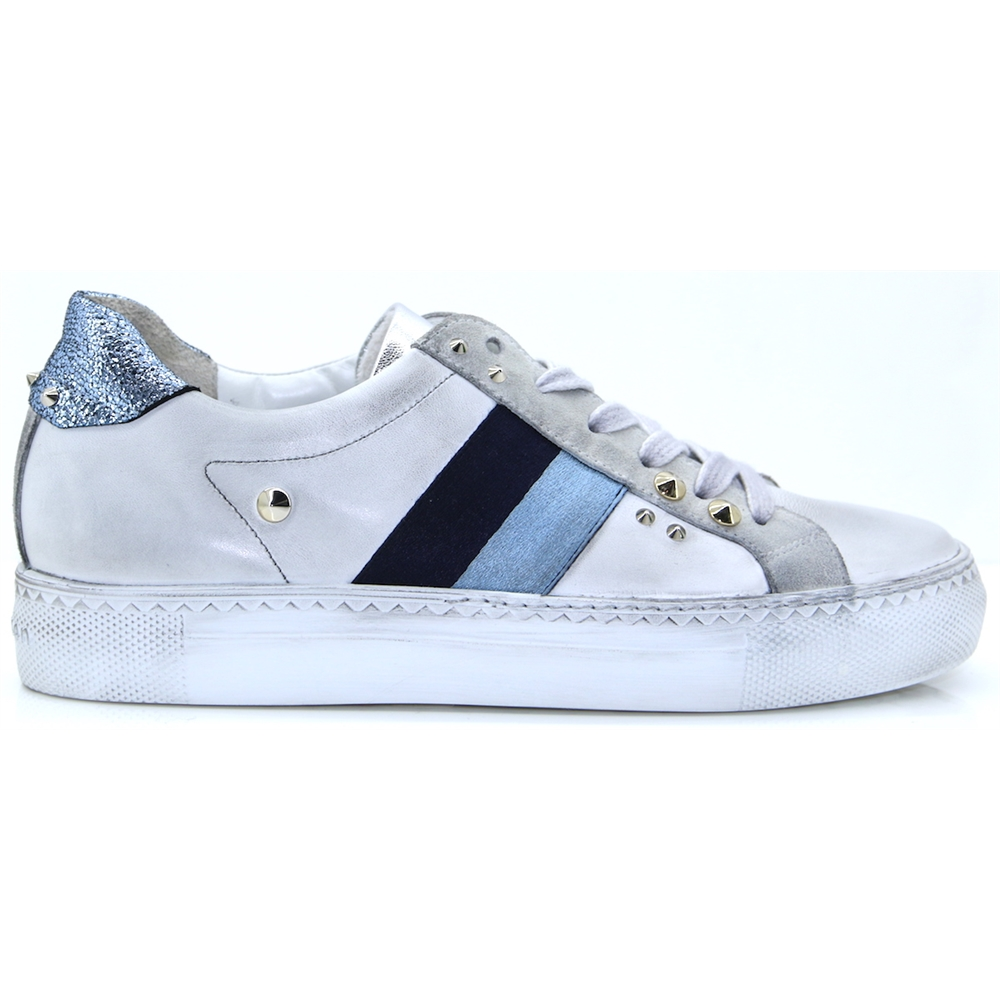 4754 - PAUL GREEN LIGHT GREY WITH BLUE STRIPE TRAINERS