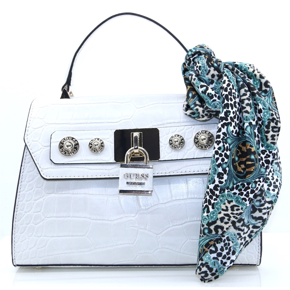 CG718218 - GUESS SMALL STONE CROC HANDBAG WITH SCARF
