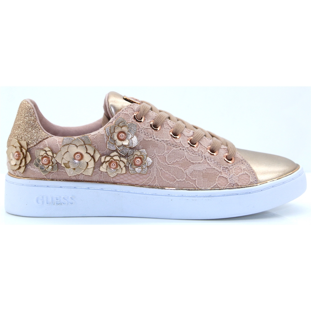 FL5BES LAC12 - GUESS ROSE TRAINERS WITH 3D FLOWERS