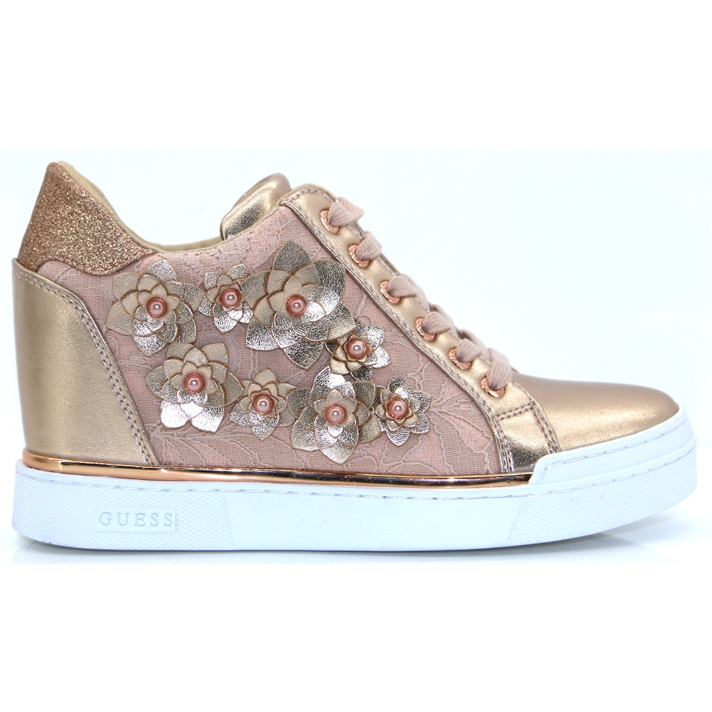 FL5FLWLAC12 - GUESS ROSE GOLD WEDGE TRAINERS