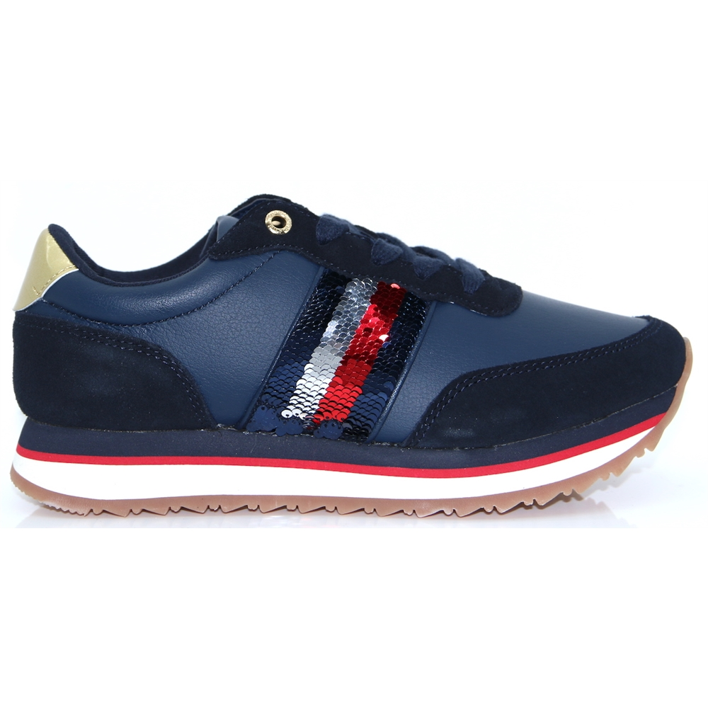 Tom.Sequin Retro Runner - Tommy Hilfiger NAVY TRAINERS
