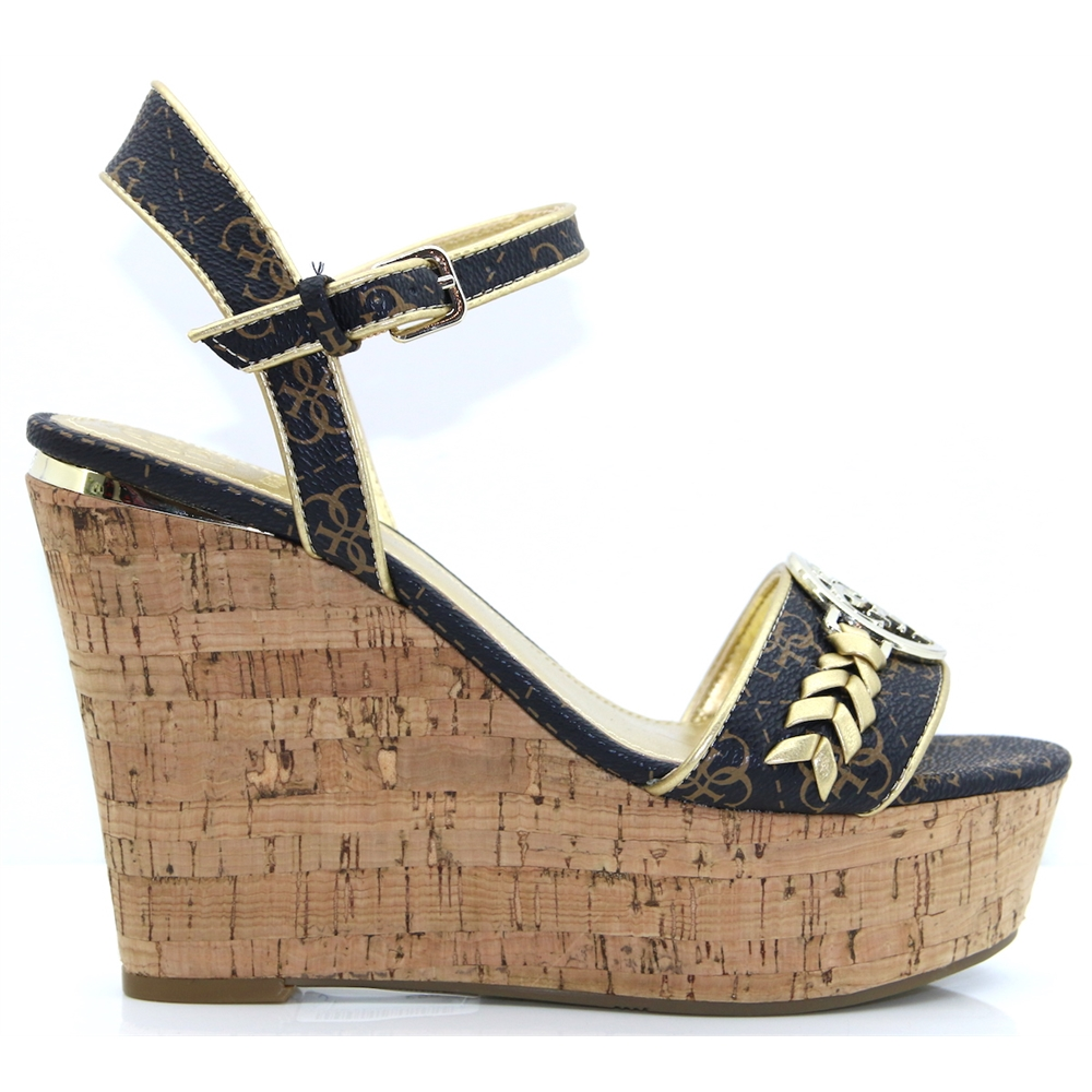 FL6GSI FAL04 - GUESS BROWN WEDGES WITH LOGO PRINT