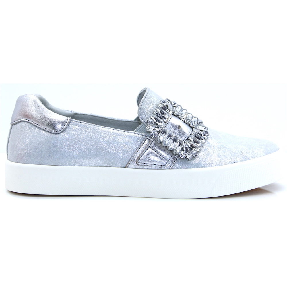 24202-22 - CAPRICE SILVER SLIP ON SHOES WITH DIAMANTE BUCKLE