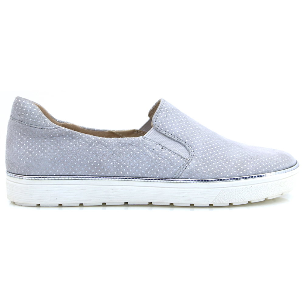 24662-22 - CAPRICE LT GREY DOT SLIP ON SHOES