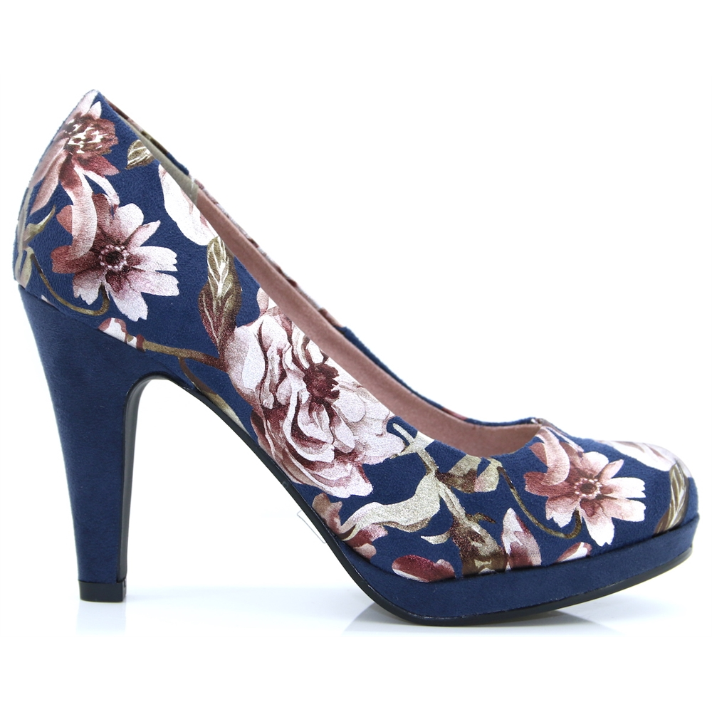 22400-32 - MARCO TOZZI NAVY FLOWER COURT SHOES