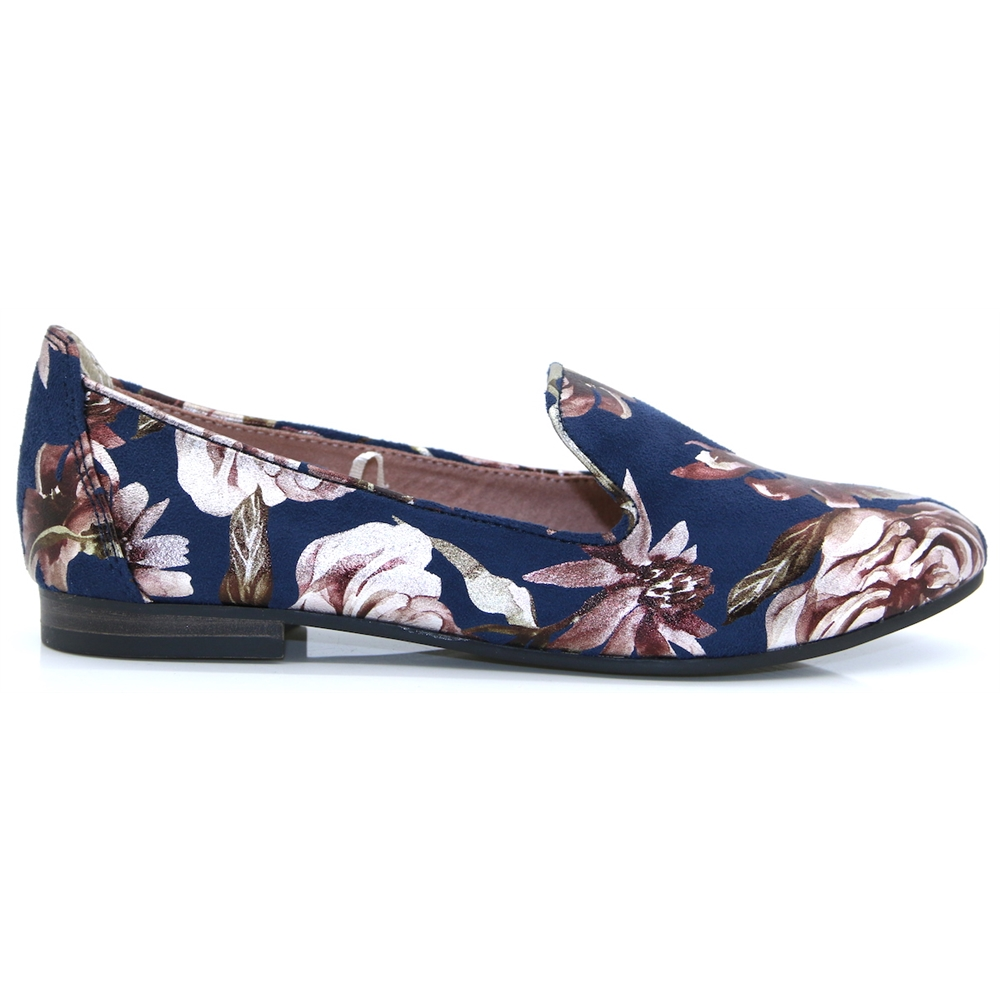 24234-32 - MARCO TOZZI NAVY FLOWER SLIP ON SHOES
