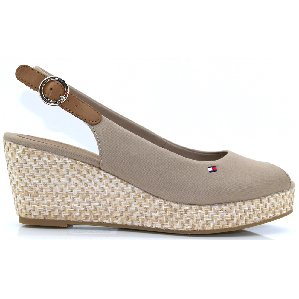 Elba Basic Sling Back - Tommy Hilfiger COBBLESTONE MID HEIGHT WEDGES