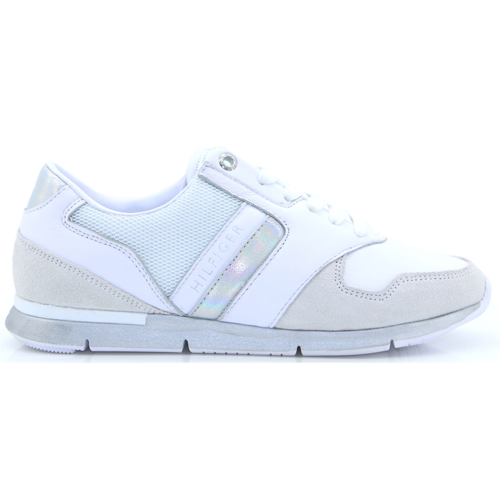Iridescent Light Sneaker - Tommy Hilfiger WHITE AND SILVER TRAINERS