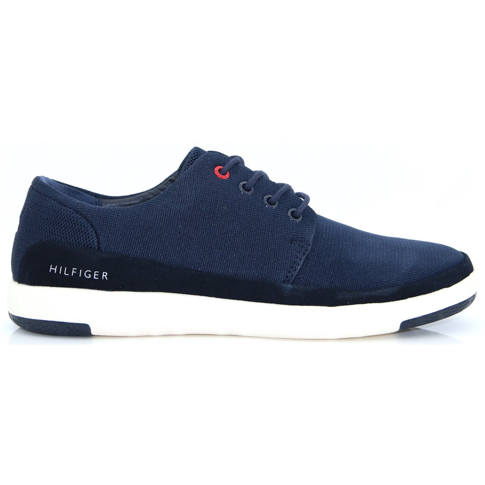 Lt.Material Mix Lace Up - Tommy Hilfiger NAVY TRAINERS