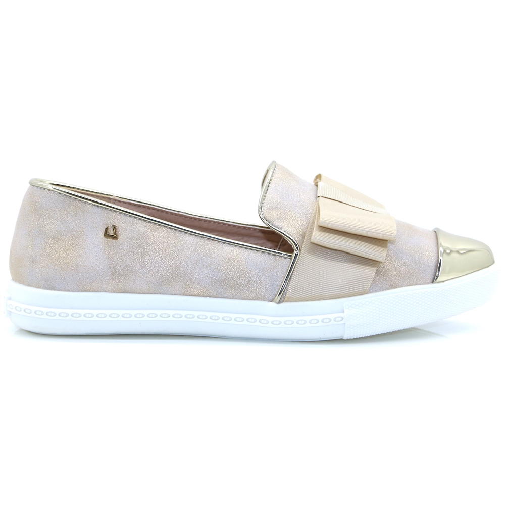 On A Round - UNA HEALY CHAMPAGNE METALLIC SLIP ON SHOES