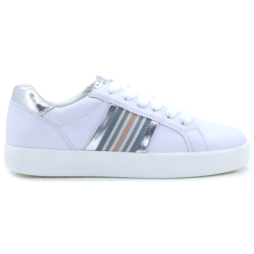 23702-32 - MARCO TOZZI WHITE AND SILVER TRAINERS