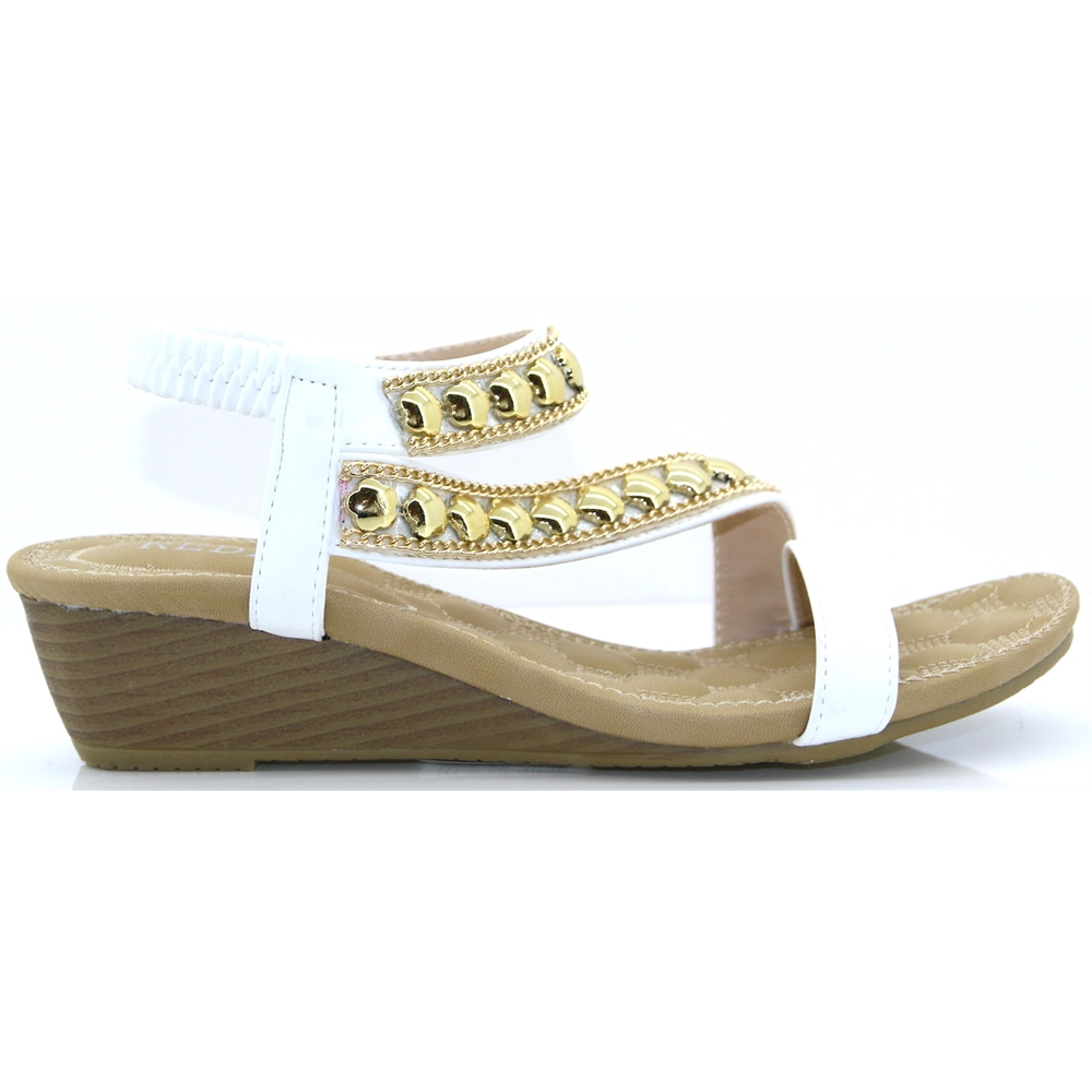 312-11 - REDZ WHITE LOW WEDGES SANDALS