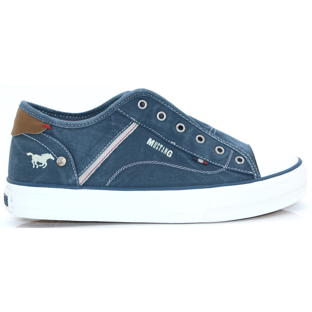 1272-401 - MUSTANG PETROL BLUE SLIP ON TRAINERS