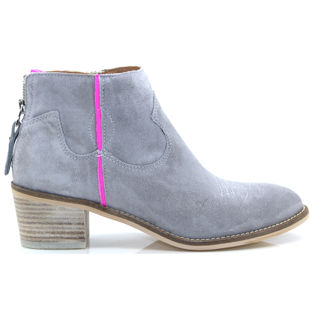 4011 - ALPE GREY SUEDE ANKLE BOOTS WITH PINK STRIPE