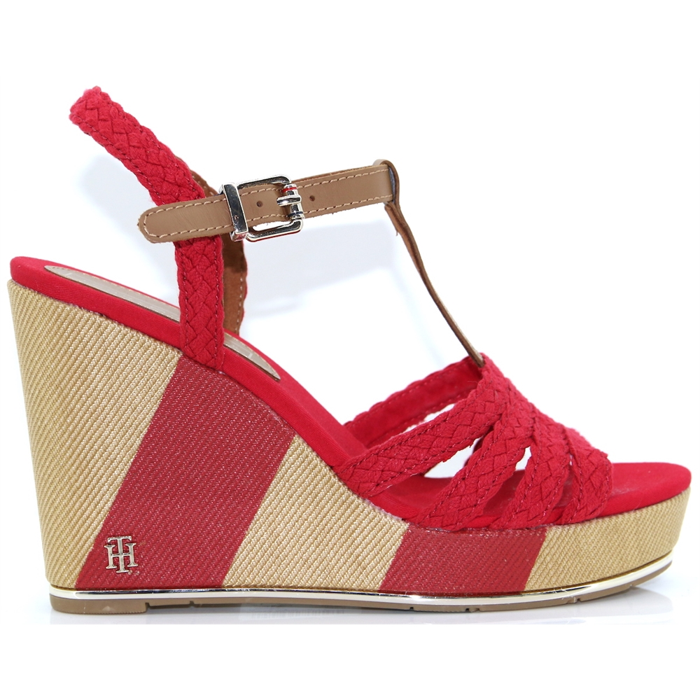 Printed Wedge Sandal - Tommy Hilfiger TANGO RED WEDGES
