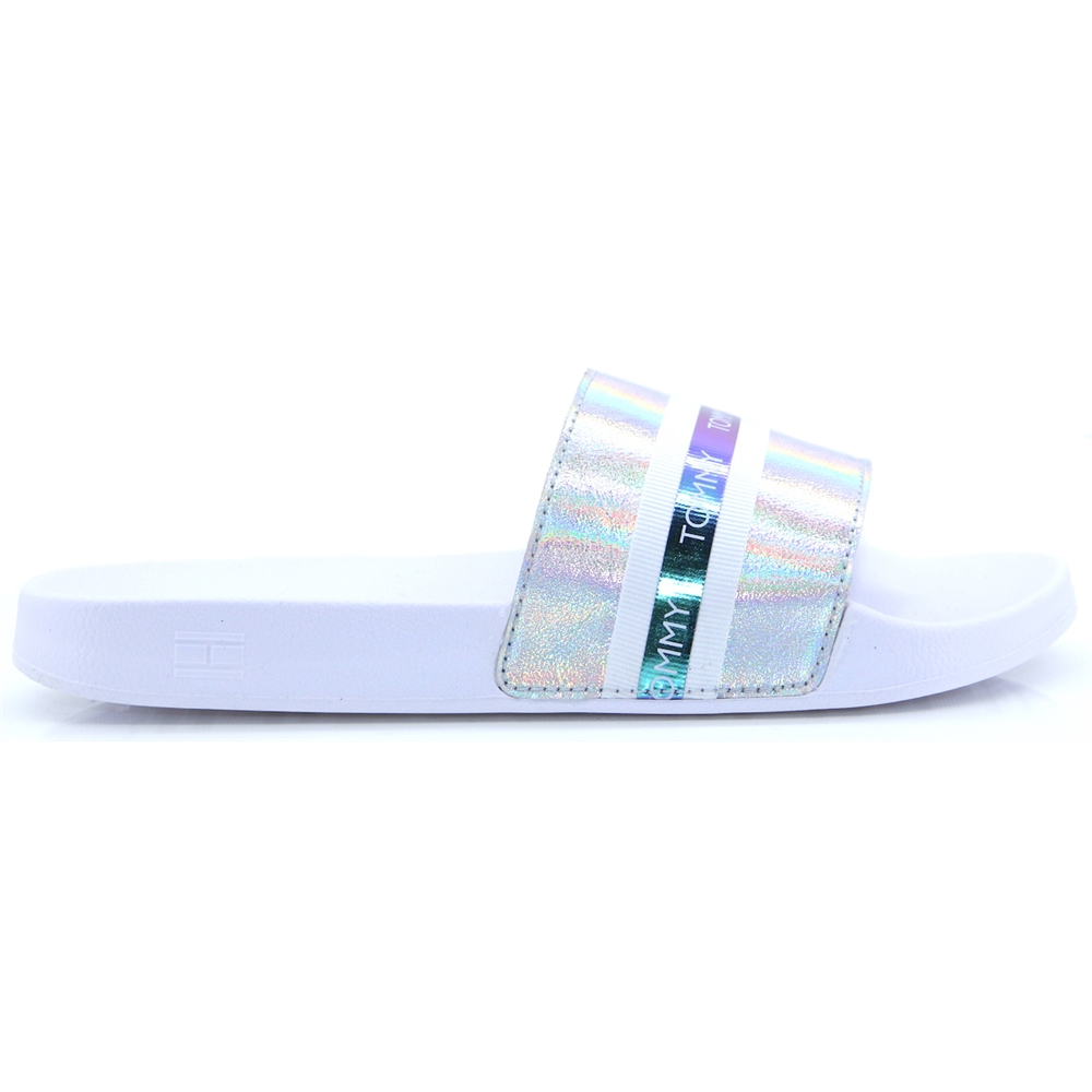 Pool Slide Shiny Iridescent - Tommy Hilfiger WHITE SLIDERS