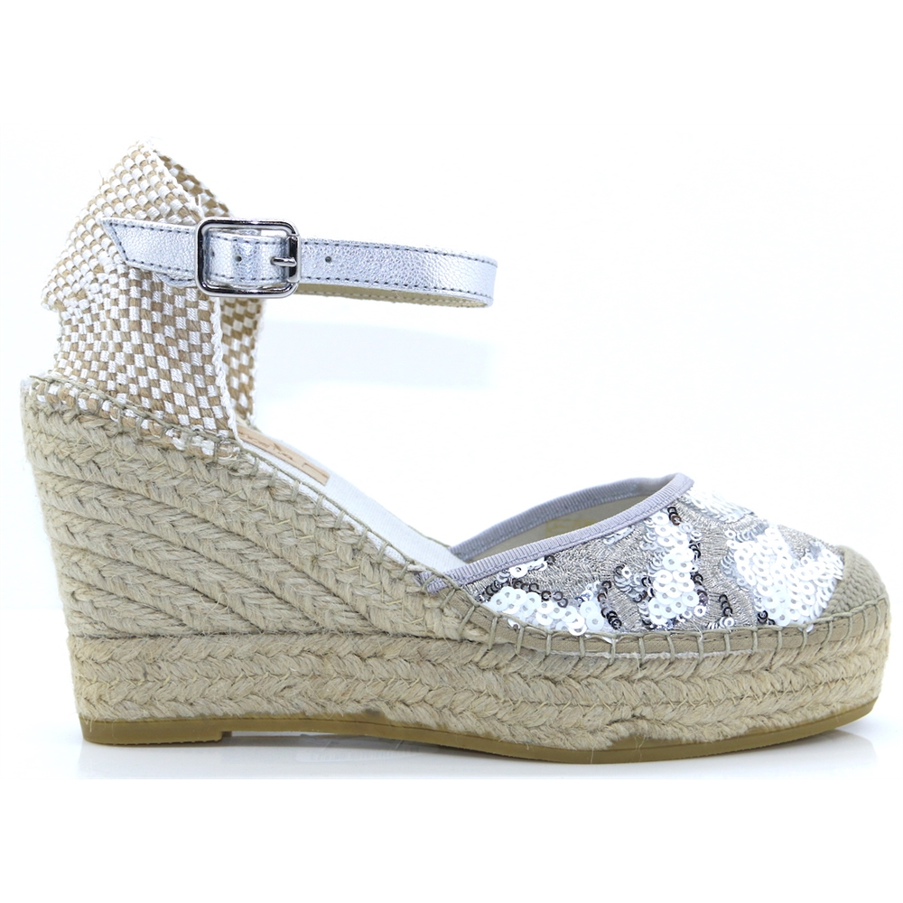 13000 - VIDORETTA SILVER AND WHITE WEDGES