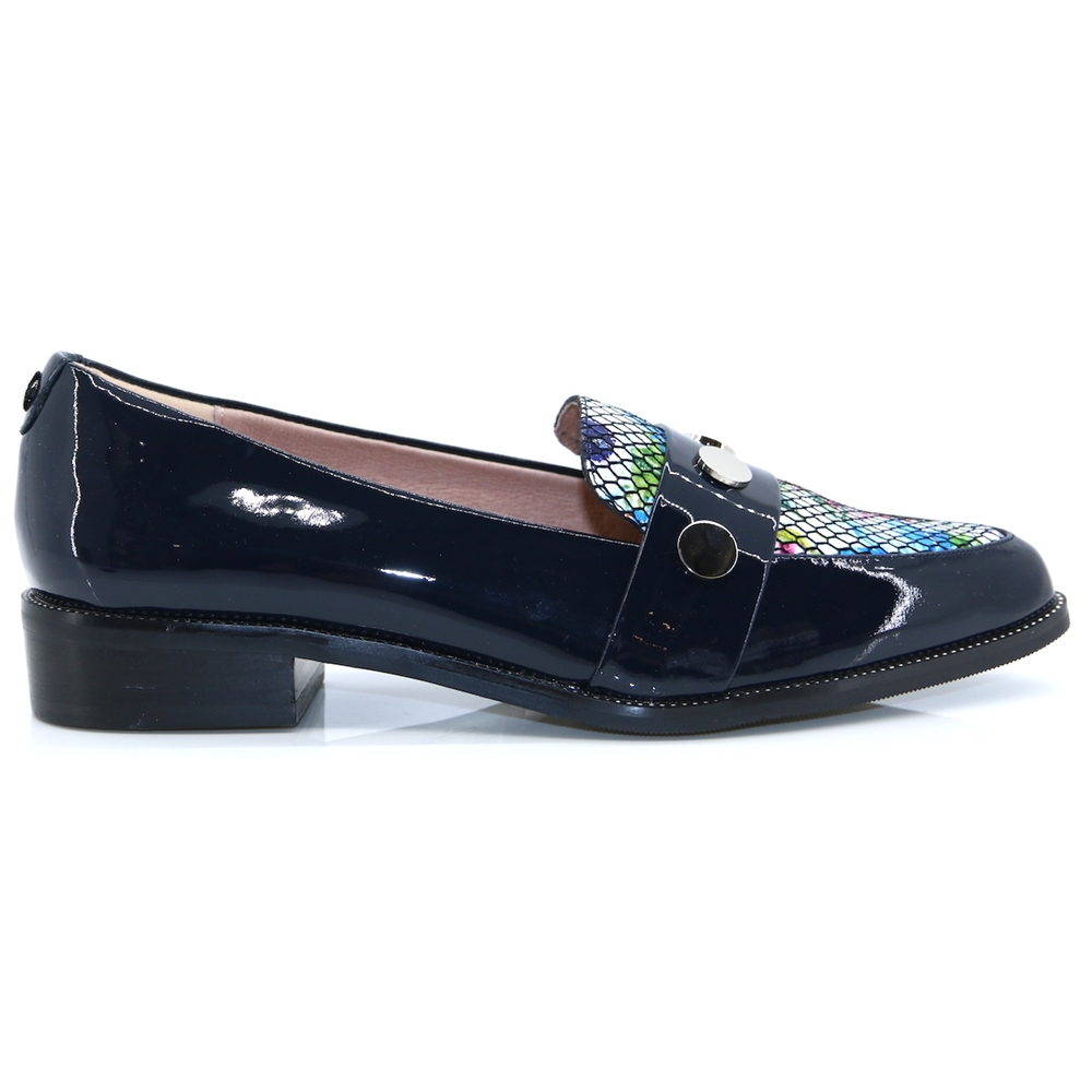 Falsco - MODA IN PELLE NAVY PATENT LOAFERS