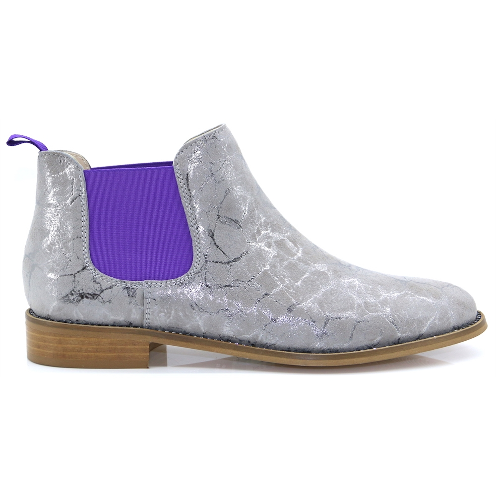 4669 - NICOLA SEXTON TAUPE AND PURPLE CHELSEA BOOTS