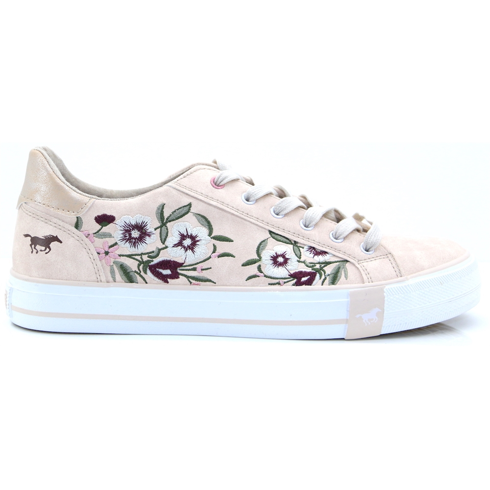 1313-303 - MUSTANG ROSE TRAINERS WITH FLORAL EMBROIDERY