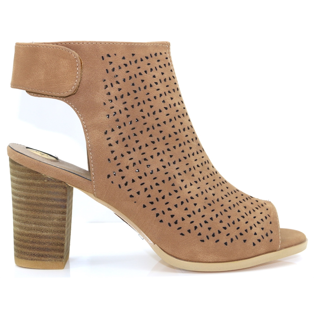 Jackie - RANT AND RAVE TAN PEEP TOE ANKLE BOOTS