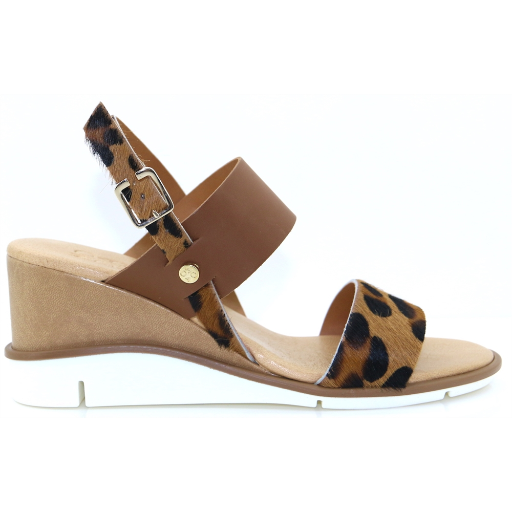 Nevva - MODA IN PELLE TAN AND LEOPARD PRINT WEDGES