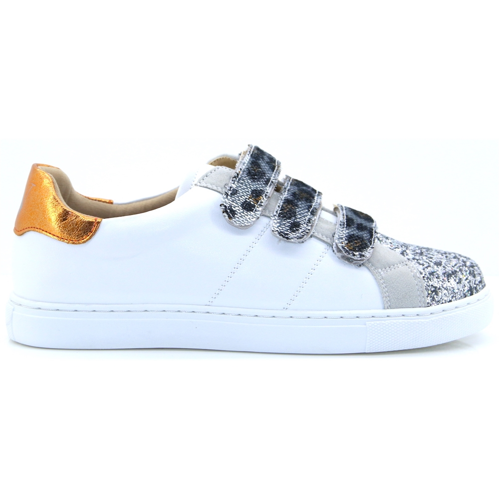 BK1977 - VANESSA WU WHITE AND SILVER GLITTER TRAINERS