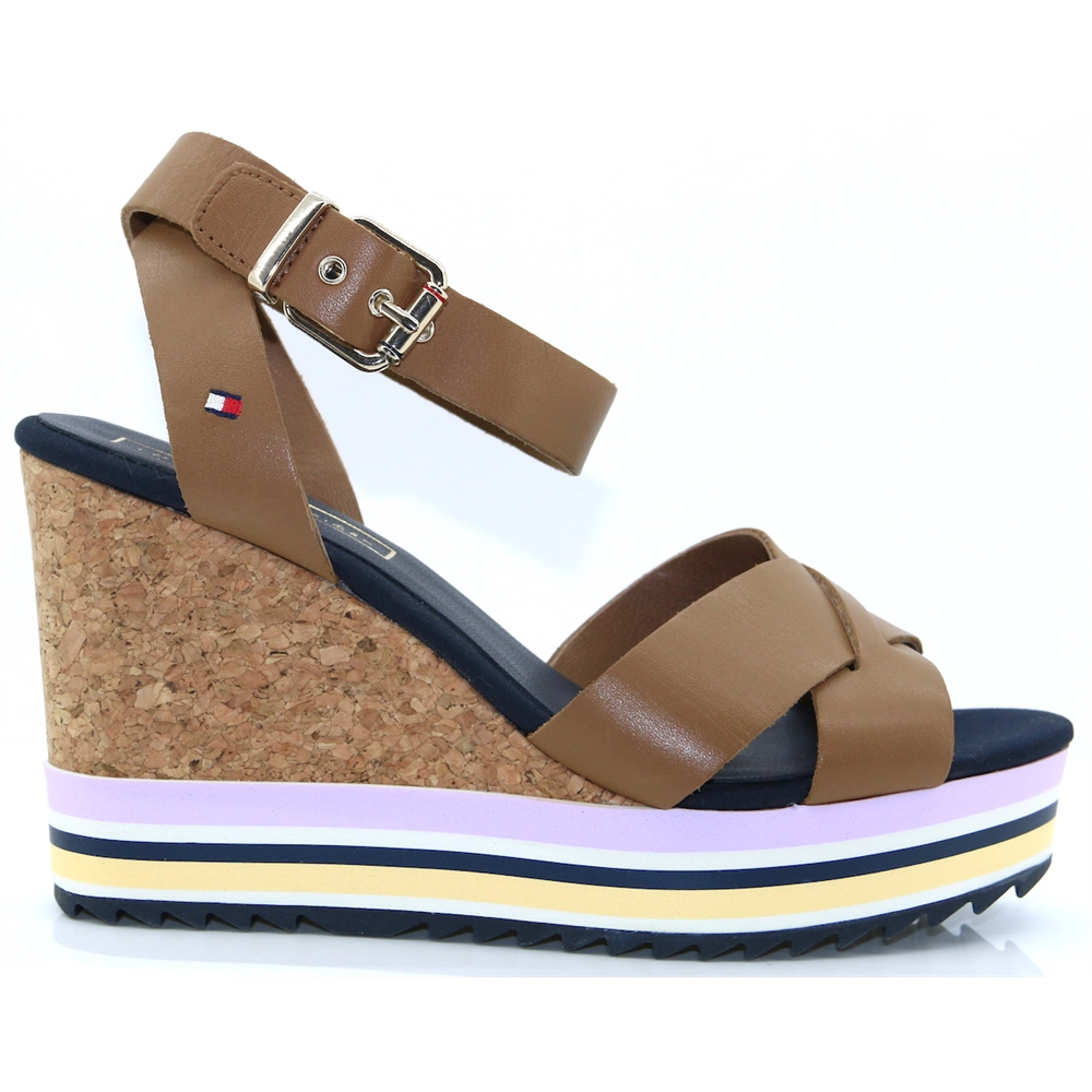 Coloured Stripes Wedge - Tommy Hilfiger SUMMER COGNAC WEDGES