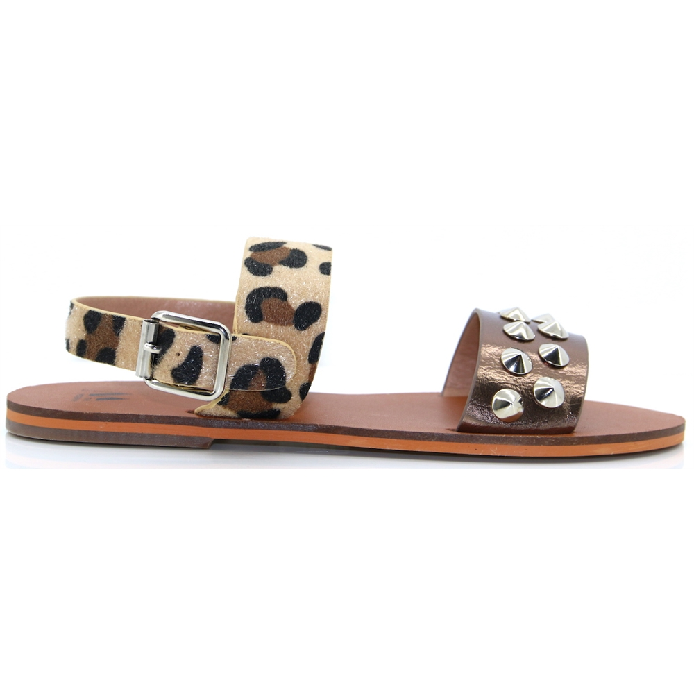 SD1956 - VANESSA WU LEOPARD AND PEWTER SANDALS