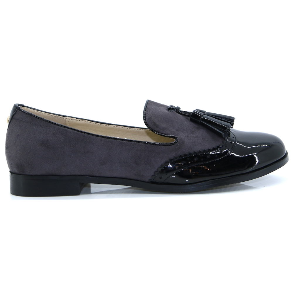 Francine - LUNAR GREY AND BLACK PATENT LOAFERS